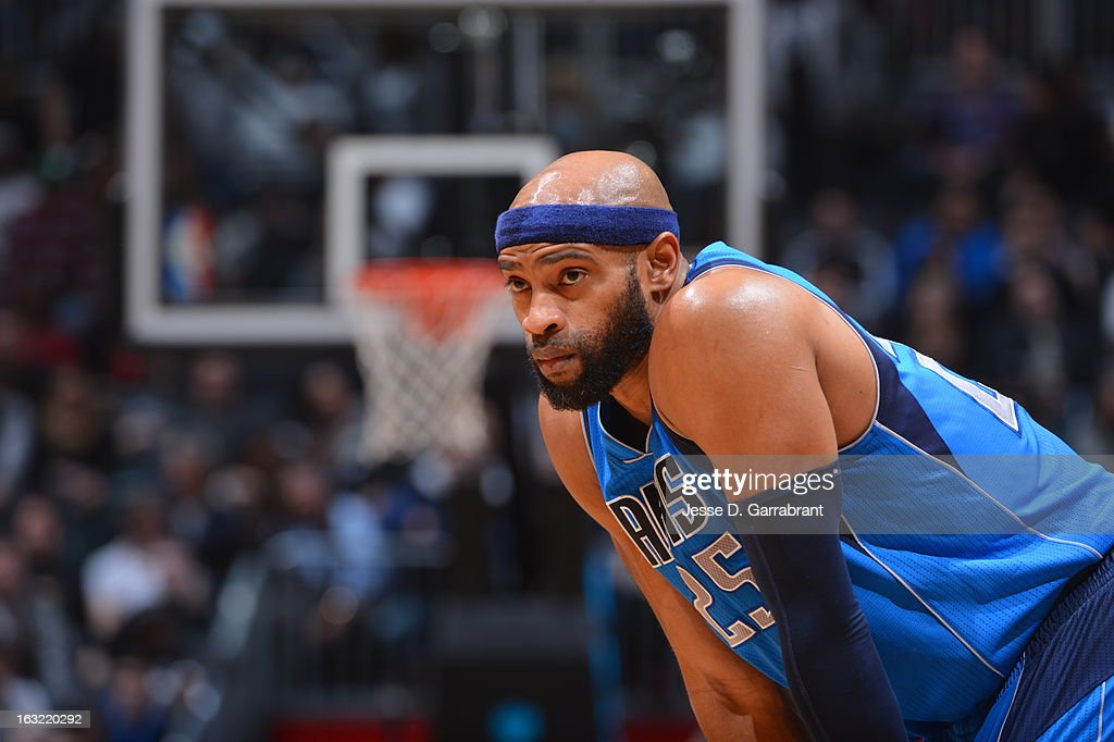 <a gi-track='captionPersonalityLinkClicked' href=/galleries/search?phrase=Vince+Carter&family=editorial&specificpeople=201488 ng-click='$event.stopPropagation()'>Vince Carter</a> #25 of the Dallas Mavericks awaits a foul shot against the Brooklyn Nets on March 1, 2013 at the Barclays Center in Brooklyn, New York.