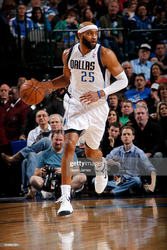 <a gi-track='captionPersonalityLinkClicked' href=/galleries/search?phrase=Vince+Carter&family=editorial&specificpeople=201488 ng-click='$event.stopPropagation()'>Vince Carter</a> #25 of the Dallas Mavericks brings the ball up court against the Utah Jazz on March 24, 2013 at the American Airlines Center in Dallas, Texas.