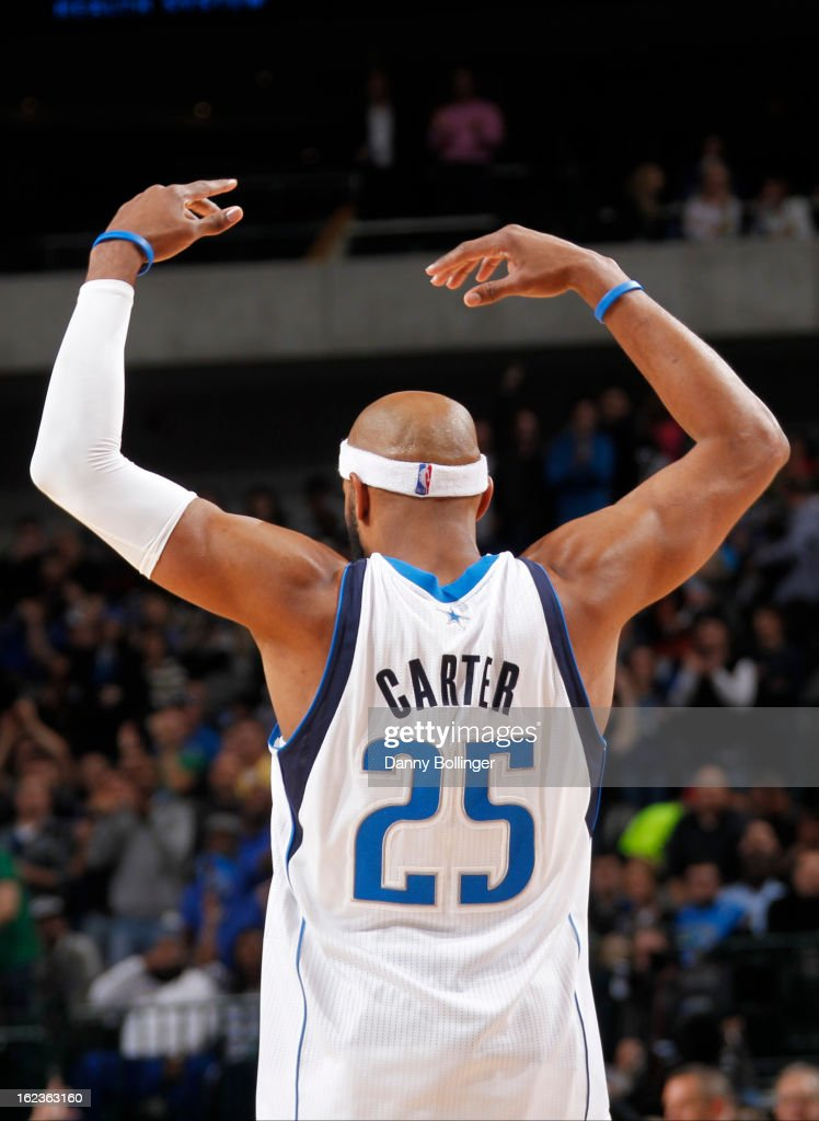 Vince Carter #25 of the Dallas Mavericks celebrates a shot against the Orlando Magic on February 20, 2013 at the American Airlines Center in Dallas, Texas.