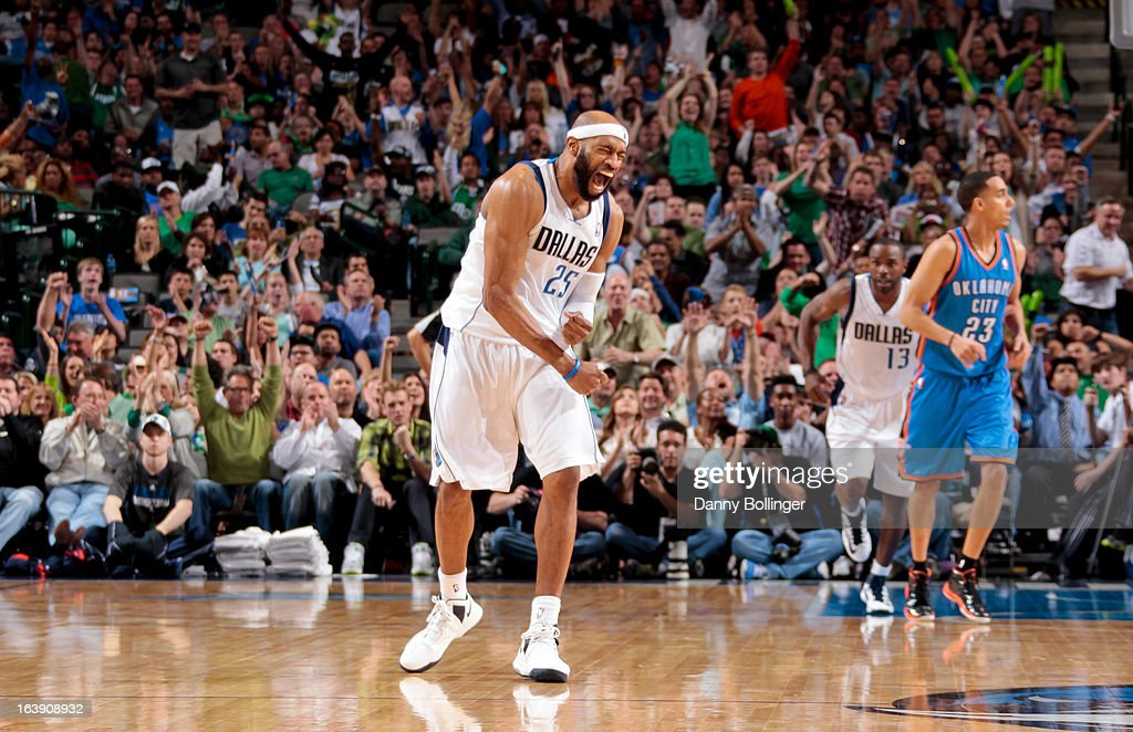 Vince Carter #25 of the Dallas Mavericks celebrates after making a shot against the Oklahoma City Thunder on March 17, 2013 at the American Airlines Center in Dallas, Texas.