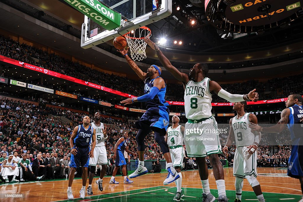 Vince Carter #25 of the Dallas Mavericks drives to the basket against the Boston Celtics on December 12, 2012 at the TD Garden in Boston, Massachusetts.