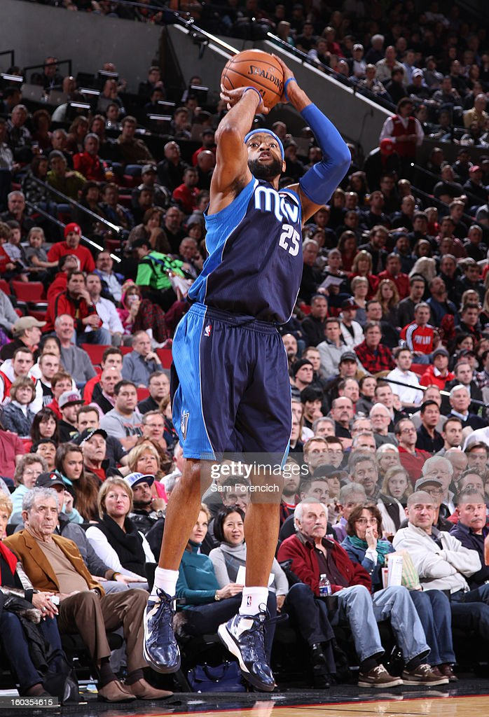 Vince Carter #25 of the Dallas Mavericks goes for a jump shot during the game between the Dallas Mavericks and the Portland Trail Blazers on January 29, 2013 at the Rose Garden Arena in Portland, Oregon.