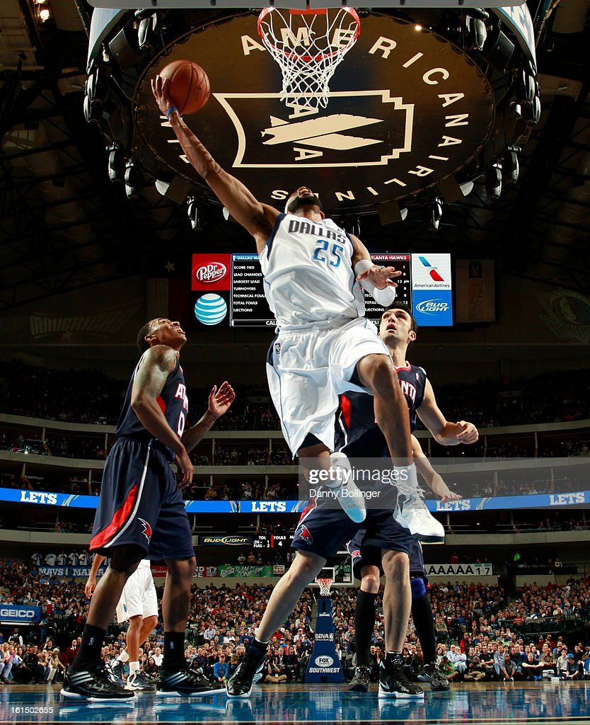Vince Carter #25 of the Dallas Mavericks goes to the basket against the Atlanta Hawks on February 11, 2013 at the American Airlines Center in Dallas, Texas.