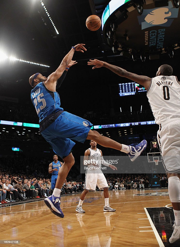 Vince Carter #25 of the Dallas Mavericks goes up but misses in the second quarter against the Brooklyn Nets at the Barclays Center on March 1, 2013 in New York City.