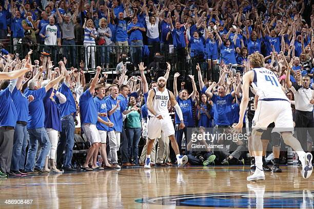 Vince Carter of the Dallas Mavericks hits the game winning shot against the San Antonio Spurs during Game Three of the Western Conference...