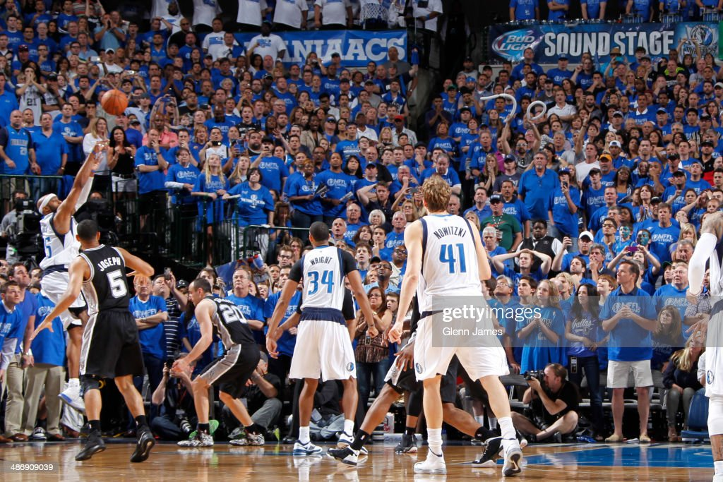 <a gi-track='captionPersonalityLinkClicked' href=/galleries/search?phrase=Vince+Carter&family=editorial&specificpeople=201488 ng-click='$event.stopPropagation()'>Vince Carter</a> #25 of the Dallas Mavericks hits the game winning shot against the San Antonio Spurs during Game Three of the Western Conference Quarterfinals during the 2014 NBA Playoffs on April 26, 2014 at the American Airlines Center in Dallas, Texas.