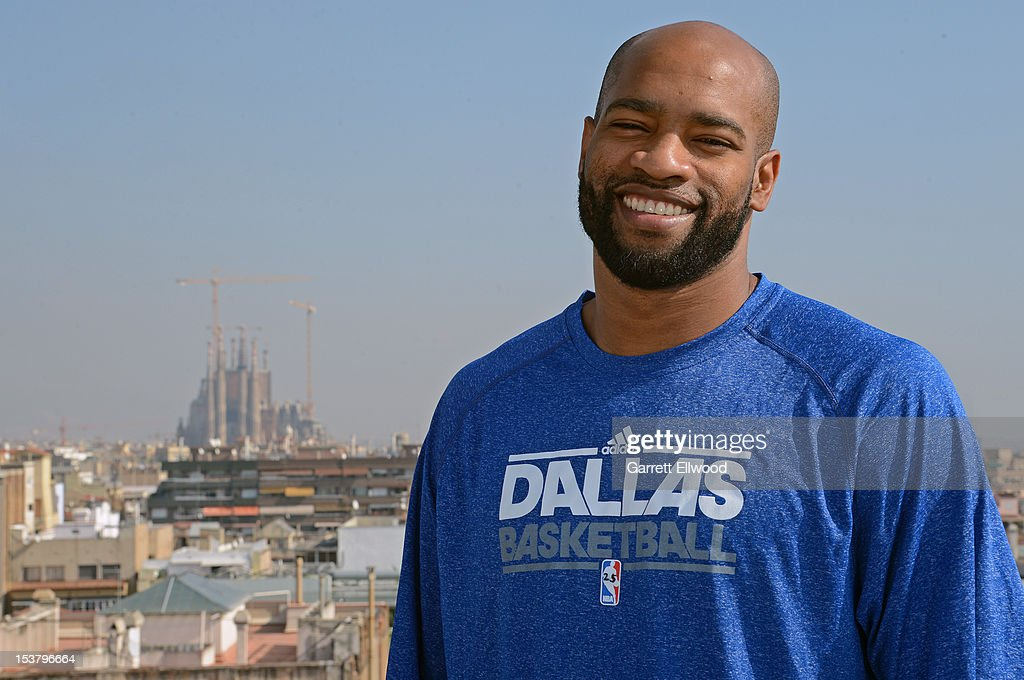 <a gi-track='captionPersonalityLinkClicked' href=/galleries/search?phrase=Vince+Carter&family=editorial&specificpeople=201488 ng-click='$event.stopPropagation()'>Vince Carter</a> #25 of the Dallas Mavericks poses for a photo on the roof of the Majestic Hotel during NBA Europe Live 2012 on October 9, 2012 in Barcelona, Spain.