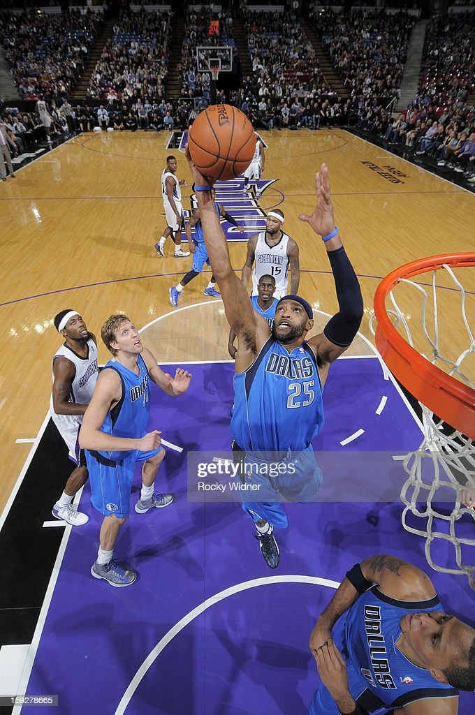 Vince Carter #25 of the Dallas Mavericks rebounds the ball against the Sacramento Kings on January 10, 2013 at Sleep Train Arena in Sacramento, California.