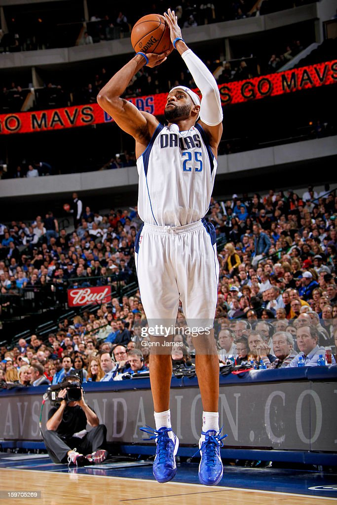 Vince Carter #25 of the Dallas Mavericks shoots a three-pointer against the Oklahoma City Thunder on January 18, 2013 at the American Airlines Center in Dallas, Texas.