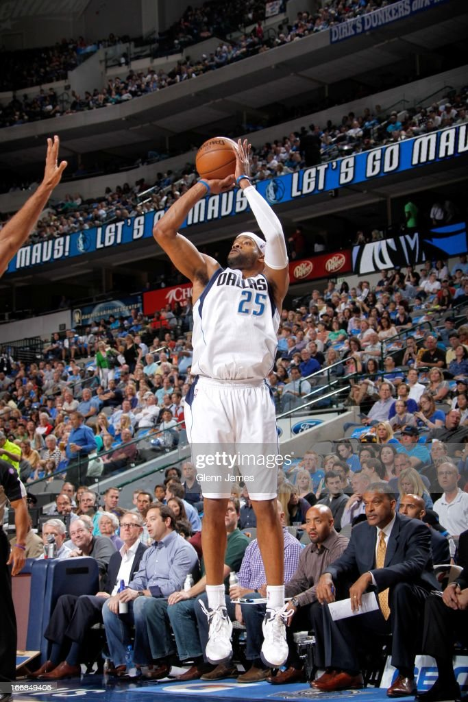 Vince Carter #25 of the Dallas Mavericks shoots against the New Orleans Hornets on April 17, 2013 at the American Airlines Center in Dallas, Texas.