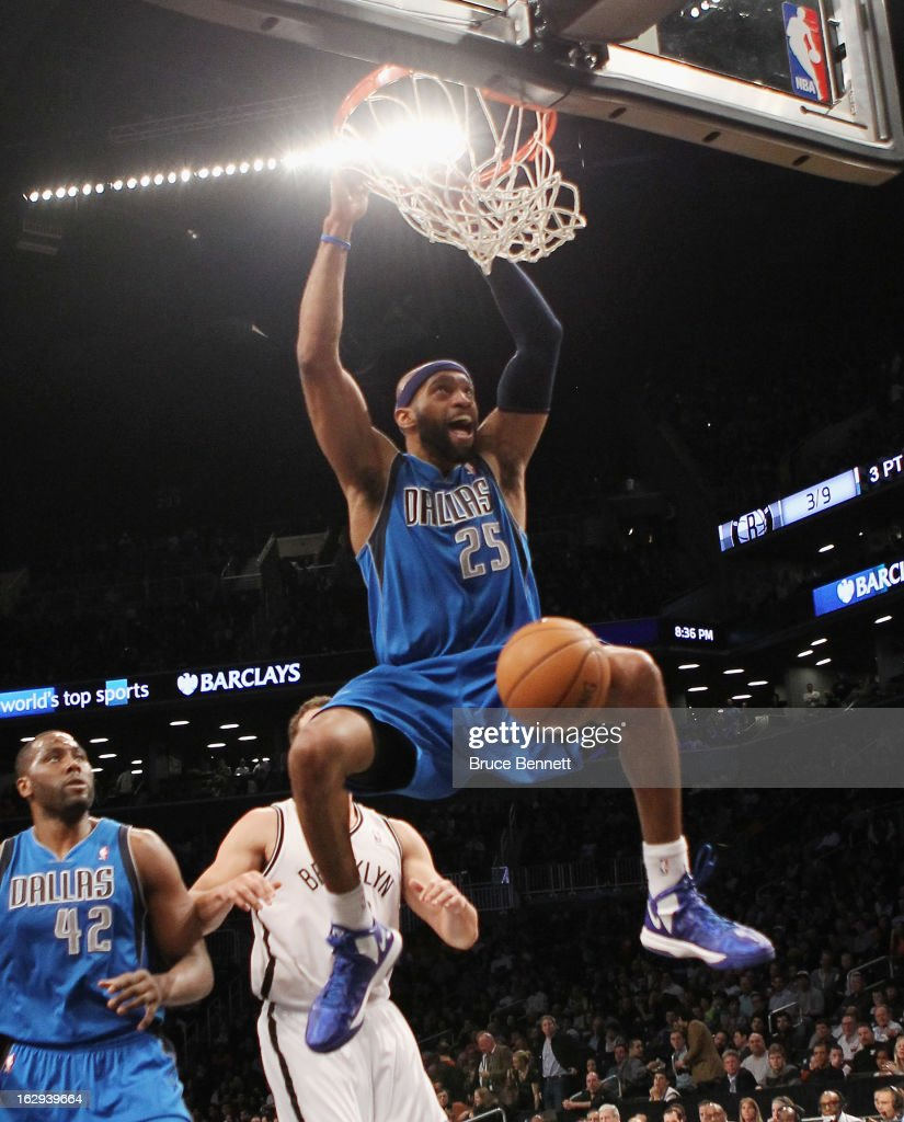 Vince Carter #25 of the Dallas Mavericks sinks a basket in the second quarter against the Brooklyn Nets at the Barclays Center on March 1, 2013 in New York City.
