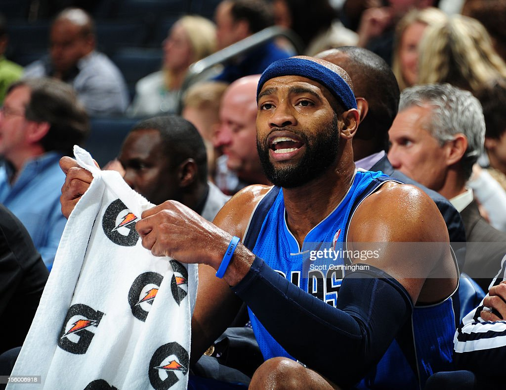 Vince Carter #25 of the Dallas Mavericks sits on the bench to rest vs the Charlotte at Time Warner Cable Arena on November 10, 2012 in Charlotte, North Carolina.