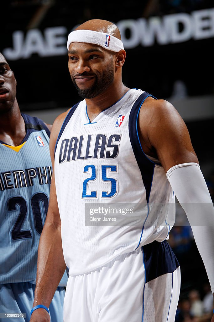<a gi-track='captionPersonalityLinkClicked' href=/galleries/search?phrase=Vince+Carter&family=editorial&specificpeople=201488 ng-click='$event.stopPropagation()'>Vince Carter</a> #25 of the Dallas Mavericks smiles during the game against the Memphis Grizzlies on April 15, 2013 at the American Airlines Center in Dallas, Texas.