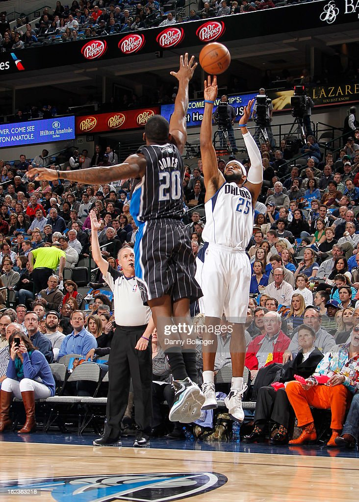 <a gi-track='captionPersonalityLinkClicked' href=/galleries/search?phrase=Vince+Carter&family=editorial&specificpeople=201488 ng-click='$event.stopPropagation()'>Vince Carter</a> #25 of the Dallas Mavericks takes a shot against the Orlando Magic on February 20, 2013 at the American Airlines Center in Dallas, Texas.
