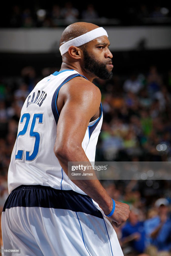 <a gi-track='captionPersonalityLinkClicked' href=/galleries/search?phrase=Vince+Carter&family=editorial&specificpeople=201488 ng-click='$event.stopPropagation()'>Vince Carter</a> #25 of the Dallas Mavericks walks up court against the Oklahoma City Thunder on March 17, 2013 at the American Airlines Center in Dallas, Texas.