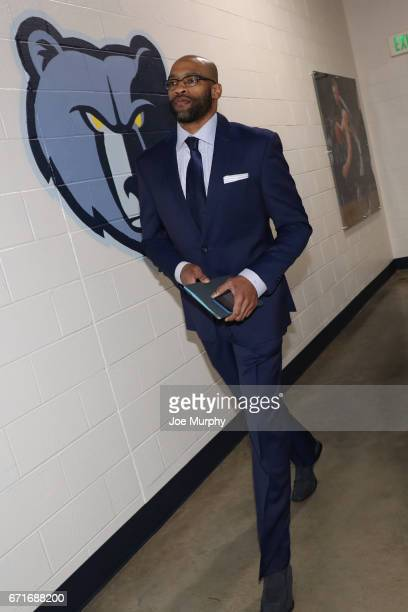 Vince Carter of the Memphis Grizzlies arrives before the game against the San Antonio Spurs in Game Four of the Eastern Conference Quarterfinals of...