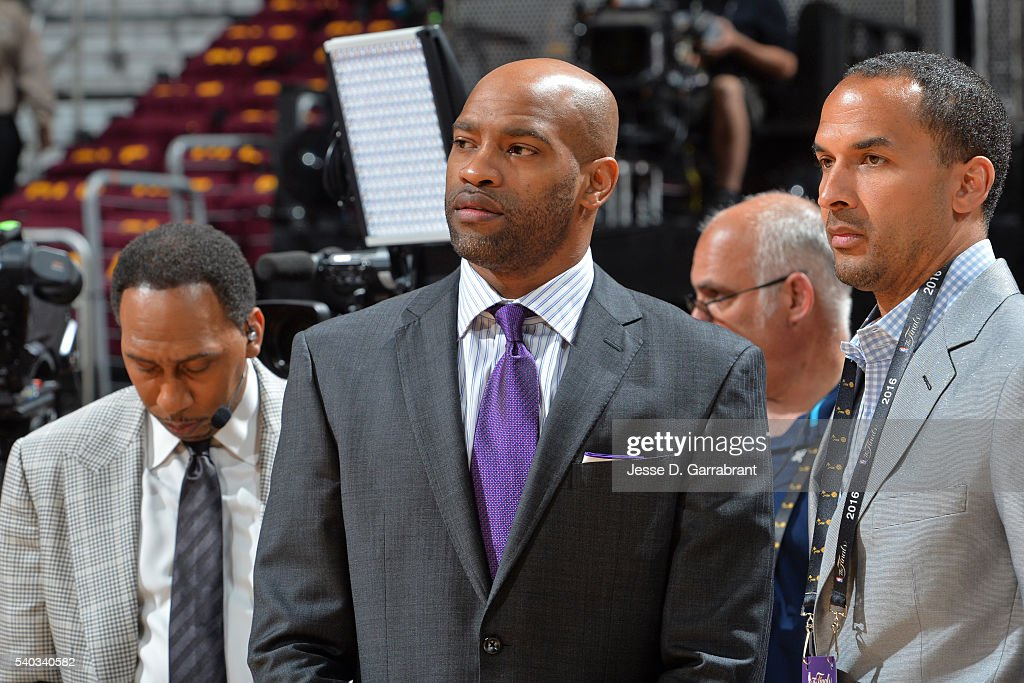 Vince Carter #15 of the Memphis Grizzlies attends Game Four of the 2016 NBA Finals between the Golden State Warriors and the Cleveland Cavaliers at The Quicken Loans Arena on June 10, 2016 in Cleveland, Ohio.