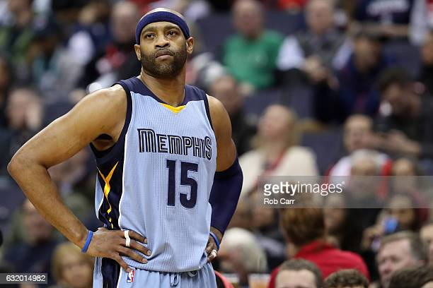 Vince Carter of the Memphis Grizzlies looks on against the Washington Wizards at Verizon Center on January 18 2017 in Washington DC NOTE TO USER User...