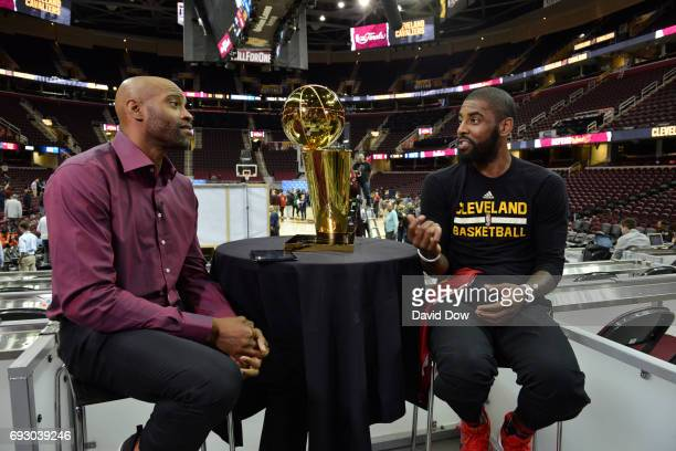 Vince Carter of the Memphis Grizzlies moderates a Facebook Live chat with Kyrie Irving of the Cleveland Cavaliers during media availability as part...