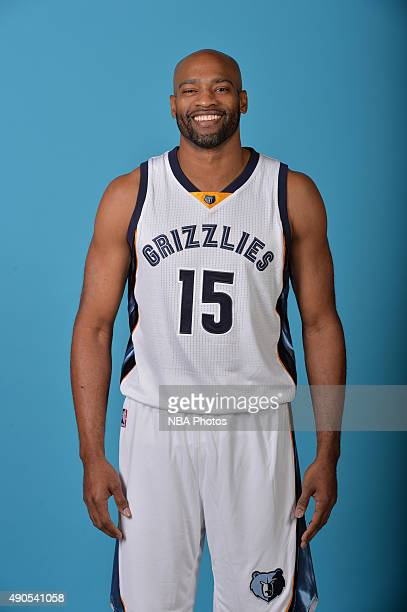 Vince Carter of the Memphis Grizzlies poses for a portrait during their 2015 Media Day on September 28 2015 at FedEx Forum in Memphis Tennessee NOTE...