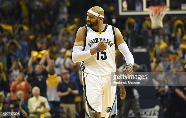 Vince Carter of the Memphis Grizzlies reacts after making a basket against Portland Trailblazers during the first second of Game Two of the first...