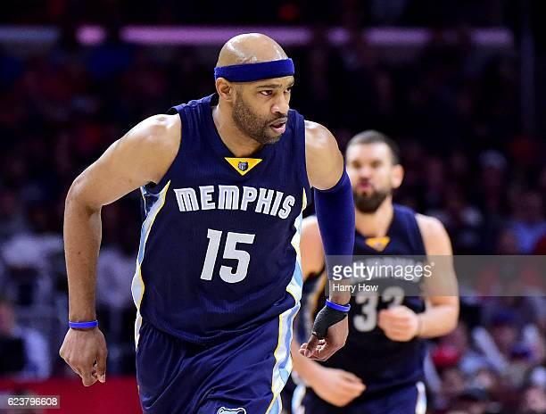Vince Carter of the Memphis Grizzlies reacts to his three pointer during a 111107 win over the LA Clippers at Staples Center on November 16 2016 in...
