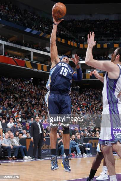 Vince Carter of the Memphis Grizzlies shoots the ball during a game against the Sacramento Kings on March 27 2017 at Golden 1 Center in Sacramento...