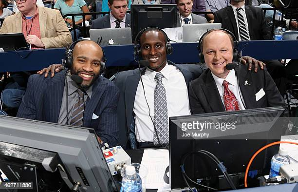 Vince Carter of the Memphis Grizzlies with announcers Brevin Knight and Pete Pranica before the game against the Oklahoma City Thunder on January 31...