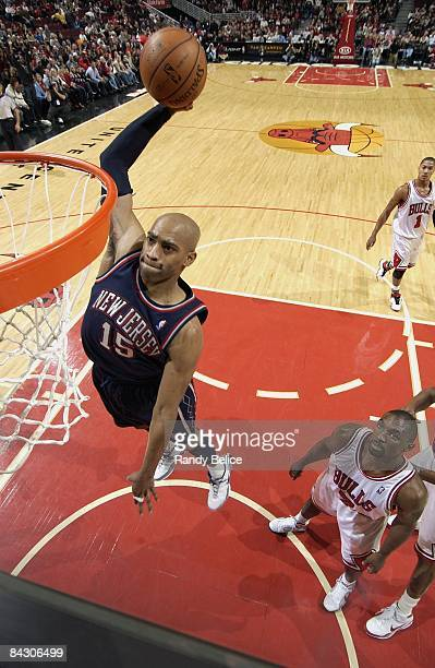 Vince Carter of the New Jersey Nets dunks against against the Chicago Bulls during the game on December 13 2008 at the United Center in Chicago...