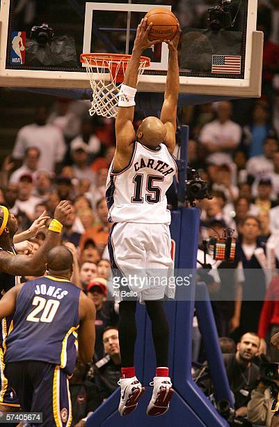 Vince Carter of the New Jersey Nets dunks against the Indiana Pacers in game one of the Eastern Conference Quarterfinals during the 2006 NBA Playoffs...