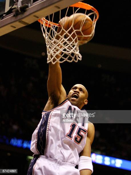 Vince Carter of the New Jersey Nets dunks the ball against the Indiana Pacers in game two of the Eastern Conference Quarterfinals during the 2006 NBA...