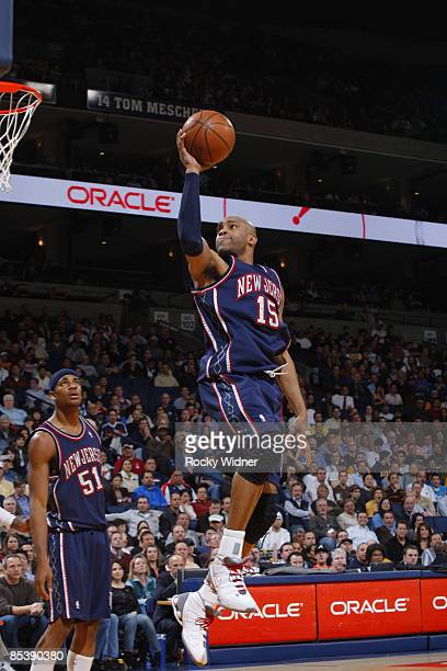 Vince Carter of the New Jersey Nets goes up for a layup against the Golden State Warriors on March 11 2009 at Oracle Arena in Oakland California NOTE...