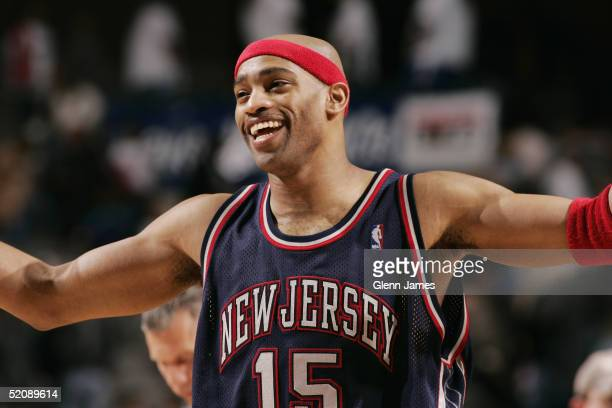 Vince Carter of the New Jersey Nets is seen smiling on the court during the game against the Dallas Mavericks on January 15 2005 at the American...