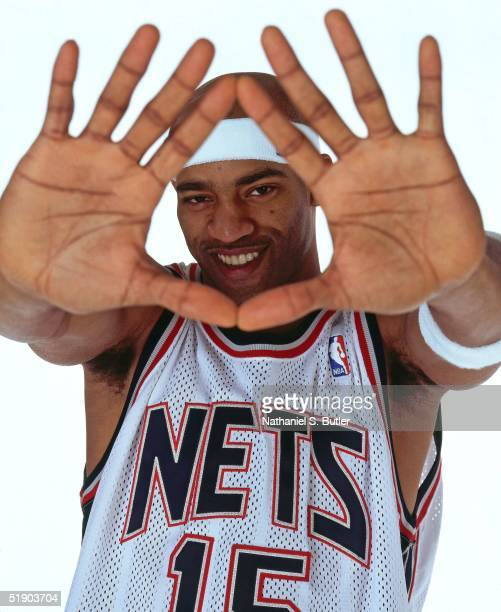 Vince Carter of the New Jersey Nets poses for a portrait at the Champion Center Practice Facility on December 23 2004 in East Rutherford New Jersey...