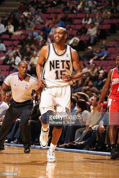 Vince Carter of the New Jersey Nets runs upcourt against the Charlotte Bobcats on November 28 2006 at Continental Airlines Arena in East Rutherford...