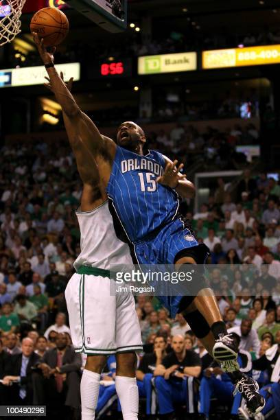 Vince Carter of the Orlando Magic drives for a shot attempt against the Boston Celtics in Game Four of the Eastern Conference Finals during the 2010...