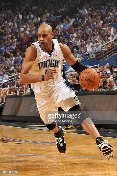 Vince Carter of the Orlando Magic drives the ball against the Boston Celtics in Game Two of the Eastern Conference Finals during the 2010 NBA...