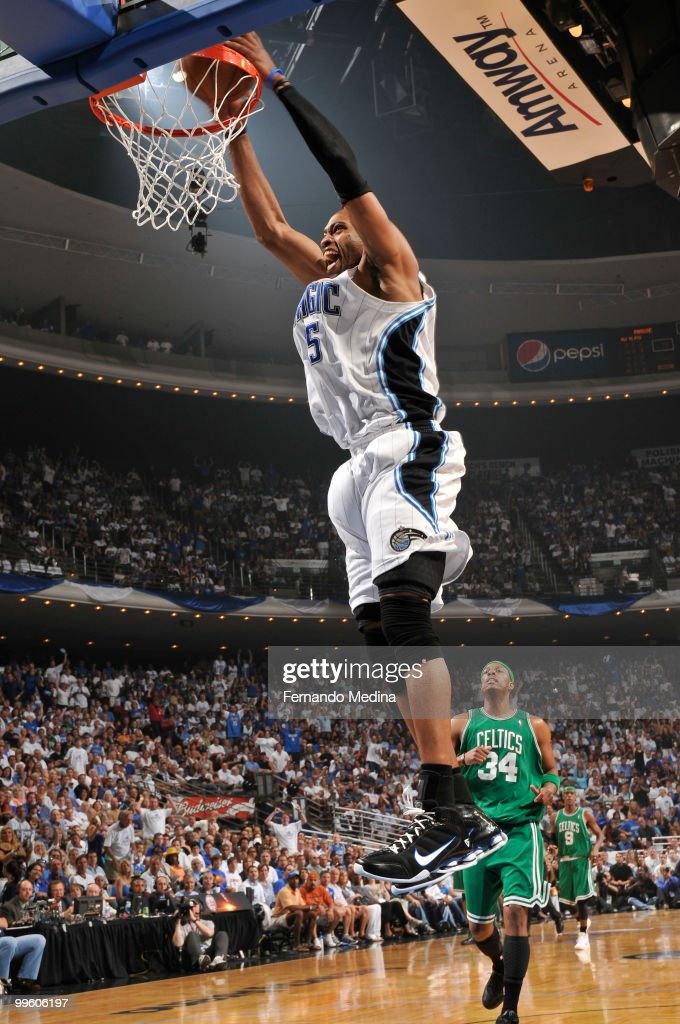 Vince Carter of the Orlando Magic dunks against the Boston Celtics in Game One of the Eastern Conference Finals during the 2010 NBA Playoffs on May...