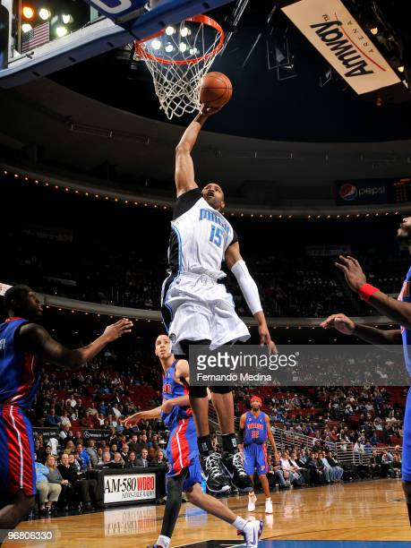 Vince Carter of the Orlando Magic dunks against the Detroit Pistons during the game on February 17 2010 at Amway Arena in Orlando Florida NOTE TO...