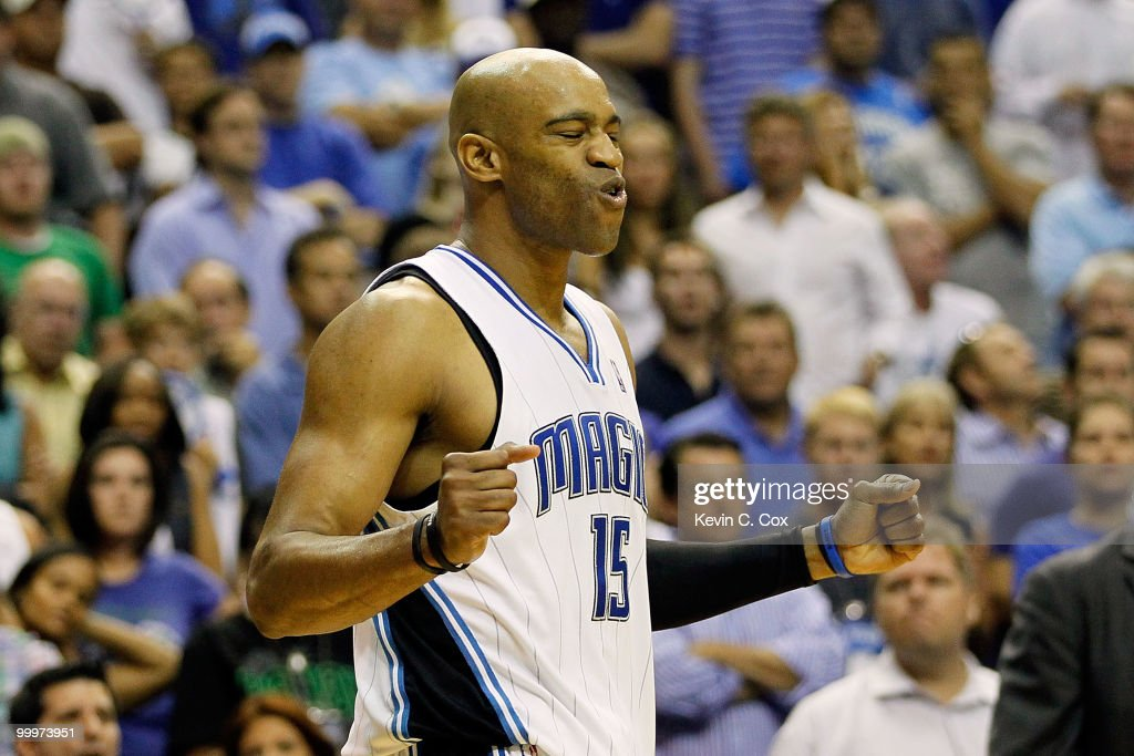 Vince Carter #15 of the Orlando Magic reacts against the Boston Celtics in Game Two of the Eastern Conference Finals during the 2010 NBA Playoffs at Amway Arena on May 18, 2010 in Orlando, Florida.
