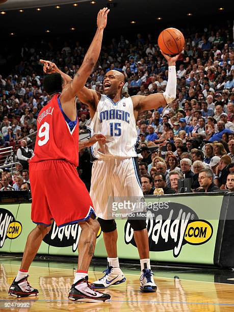 Vince Carter of the Orlando Magic reacts as he holds the ball away from Andre Iguodala of the Philadelphia 76ers during a game on October 28 2009 at...
