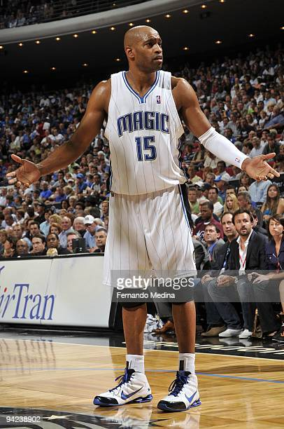Vince Carter of the Orlando Magic reacts during the game against the Philadelphia 76ers at Amway Arena on October 28 2009 in Orlando Florida The...