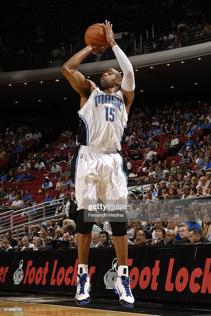 Vince Carter of the Orlando Magic shoots against the Houston Rockets during a preseason game on October 9 2009 at Amway Arena in Orlando Florida NOTE...