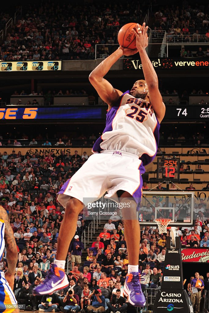 <a gi-track='captionPersonalityLinkClicked' href=/galleries/search?phrase=Vince+Carter&family=editorial&specificpeople=201488 ng-click='$event.stopPropagation()'>Vince Carter</a> #25 of the Phoenix Suns shoots against the Golden State Warriors in an NBA game played on March 18, 2011 at U.S. Airways Center in Phoenix, Arizona.