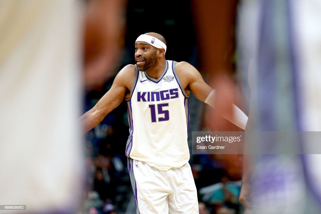 Vince Carter #15 of the Sacramento Kings react to a call during the first half of a NBA game against the New Orleans Pelicans at the Smoothie King Center on December 8, 2017 in New Orleans, Louisiana.