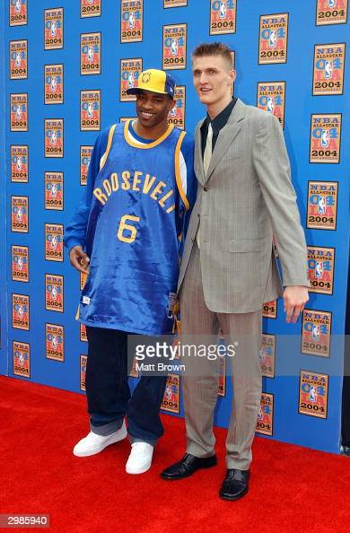 Vince Carter of the Toronto Raptors and Andrei Kirilenko of the Utah Jazz arrive at the 2004 NBA AllStar Game on February 15 2004 at the Staples...