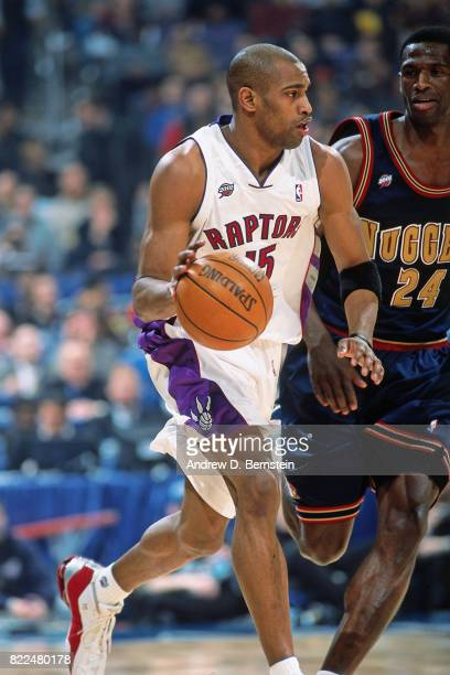 Vince Carter of the Toronto Raptors dribbles during the 2001 AllStar Game on February 1 2001 at the MCI Arena in Washington DC NOTE TO USER User...