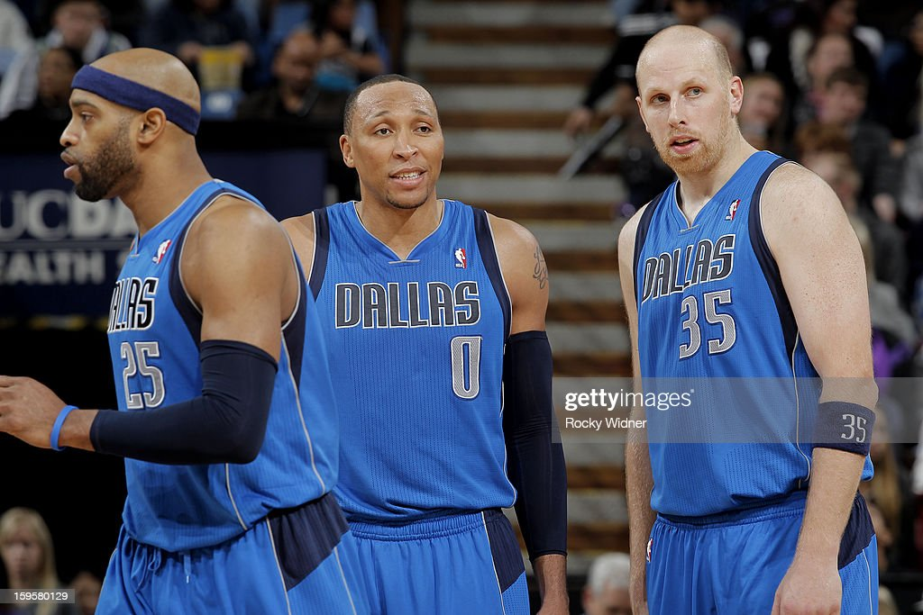 Vince Carter #25, Shawn Marion #0 and Chris Kaman #35 of the Dallas Mavericks in a game against the Sacramento Kings on January 10, 2013 at Sleep Train Arena in Sacramento, California.