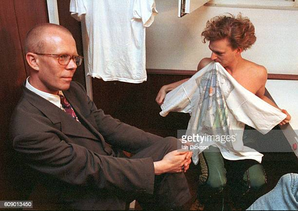 Vince Clarke and Andy Bell of Erasure in a dressing room backstage in Gdansk Poland 1991
