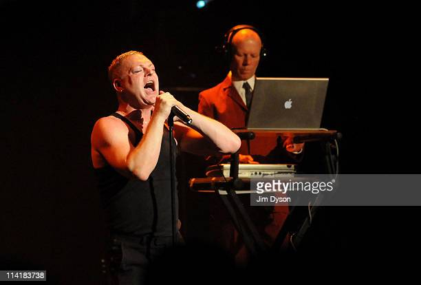 Vince Clarke and singer Andy Bell of Erasure perform live on stage during the second night of Short Circuit Presents Mute 'A Festival Of Electronica'...
